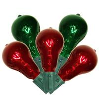 Set of 10 Transparent Red and Green PS50 Edison Style Christmas Lights - Green Wire