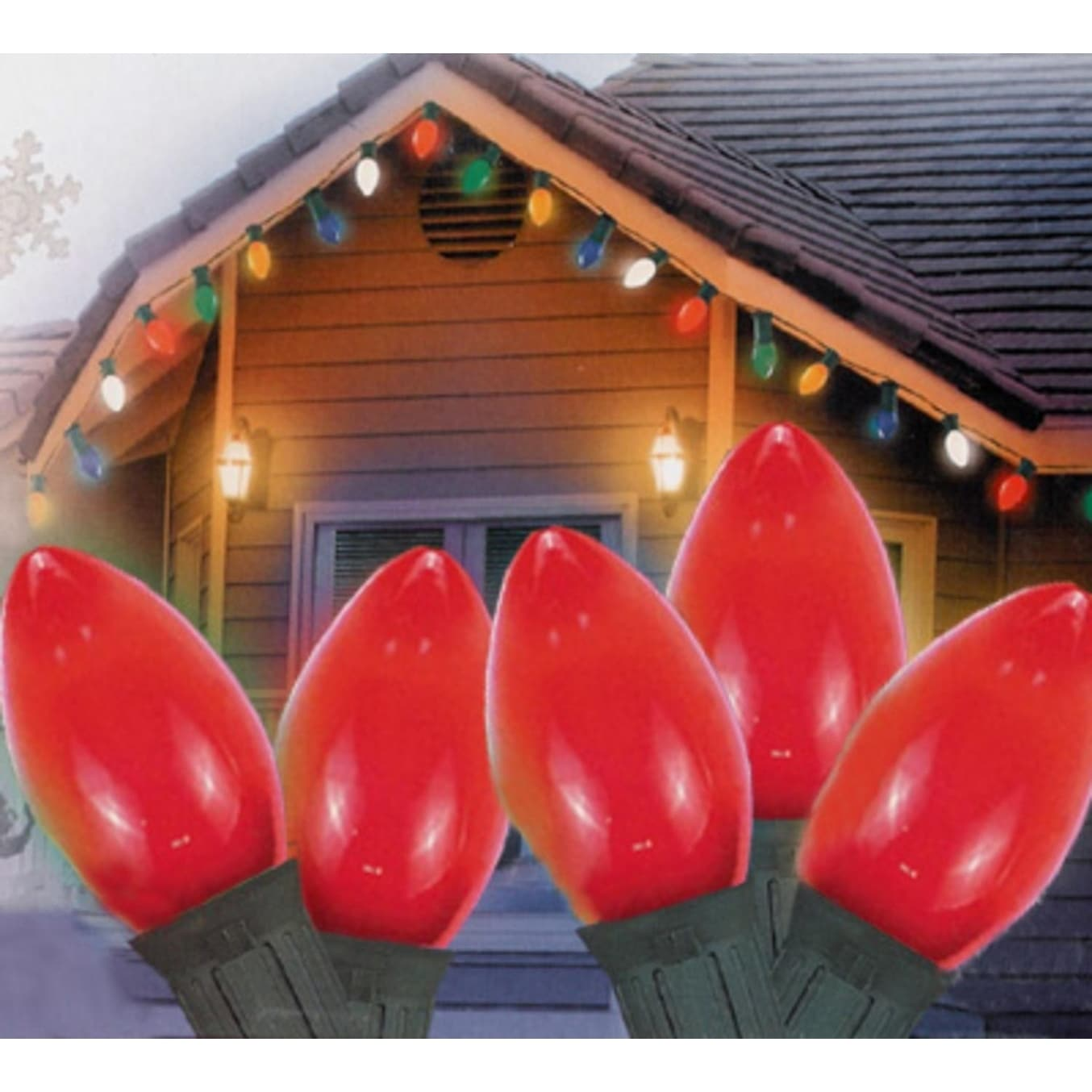 "Set of 25 Opaque Red C7 Christmas Lights 12"" Bulb Spacing..."