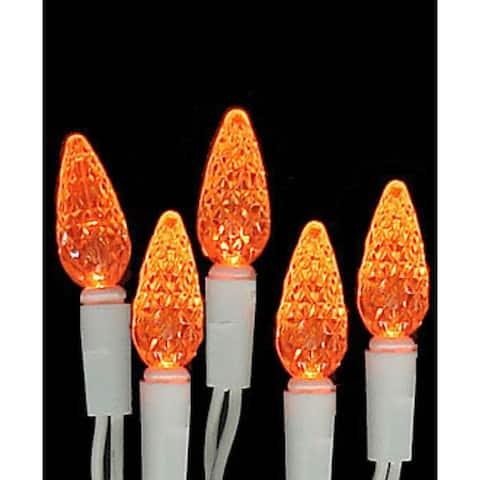 Set of 70 Amber Orange LED C6 Christmas Lights - White Wire