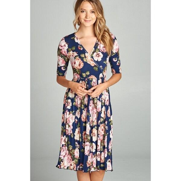 acb9b8a6c8a64 Shop Spicy Mix Mollie Floral Wrap Midi Dress With Pleated Hemline ...