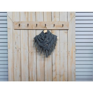 """Tickled Pink Fringed Collar Chunky Wrap 12 x 34"""" loop - Gray"""
