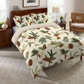 Laural Home Evergreen Pinecones Duvet Cover