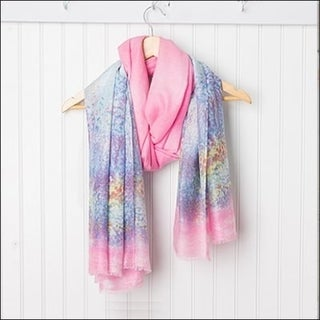 "Tickled Pink Monet Lightweight Sheer Scarf - 38 x 70"", Blue / Pink"