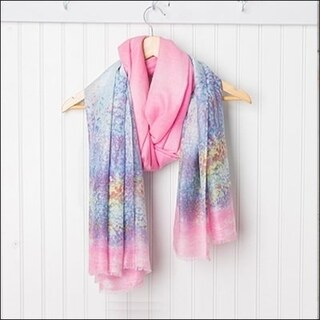 "Tickled Pink Monet Lightweight Sheer Scarf - 38 x 70"", Blue / Pink"