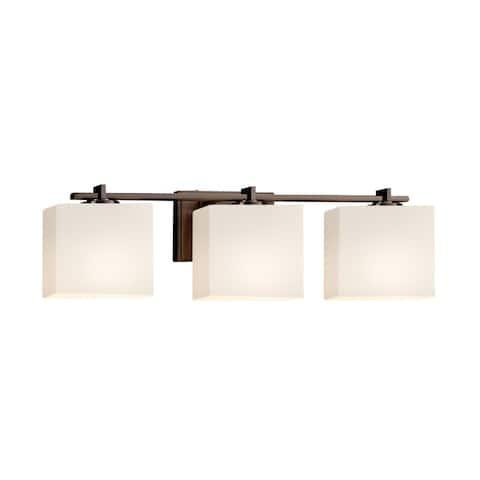 Justice Design Group Fusion Era 3-light Dark Bronze Bath Bar, Opal Rectangle Shade