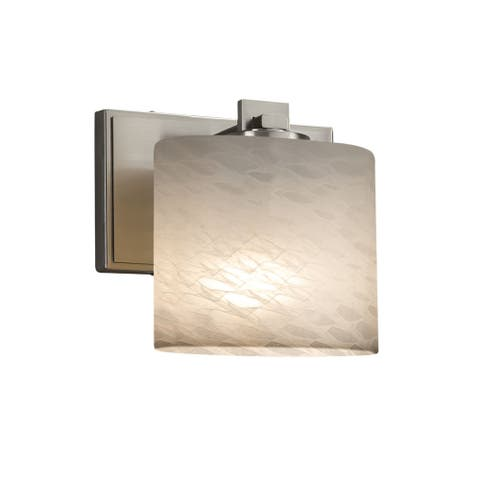 Justice Design Group Fusion Era 1-light Brushed Nickel Wall Sconce, Weave Oval Shade - Silver