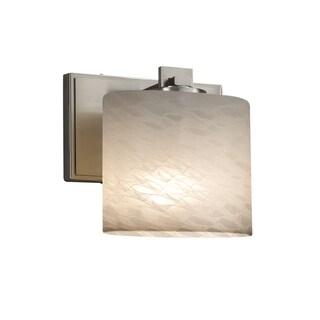 Justice Design Group Fusion Era 1-light Brushed Nickel Wall Sconce, Weave Oval Shade