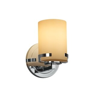 Justice Design Group Fusion Atlas 1-light Polished Chrome Wall Sconce, Almond Cylinder - Flat Rim Shade