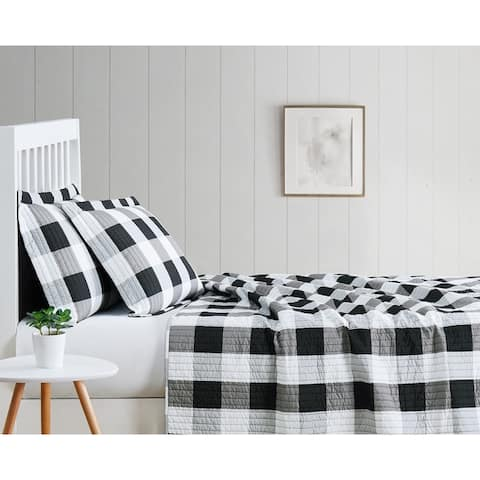 Truly Soft Everday Buffalo Plaid Printed Quilt Sets