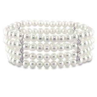 Miadora Signature Collection 14k White Gold Cultured Freshwater Pearl and Diamond 4-Row Stretch Bracelet (5.5-6 mm)
