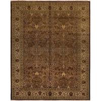 Turkish-Knotted Ankara Kendrik Brown/Ivory Rug (8'2 x 10'3)