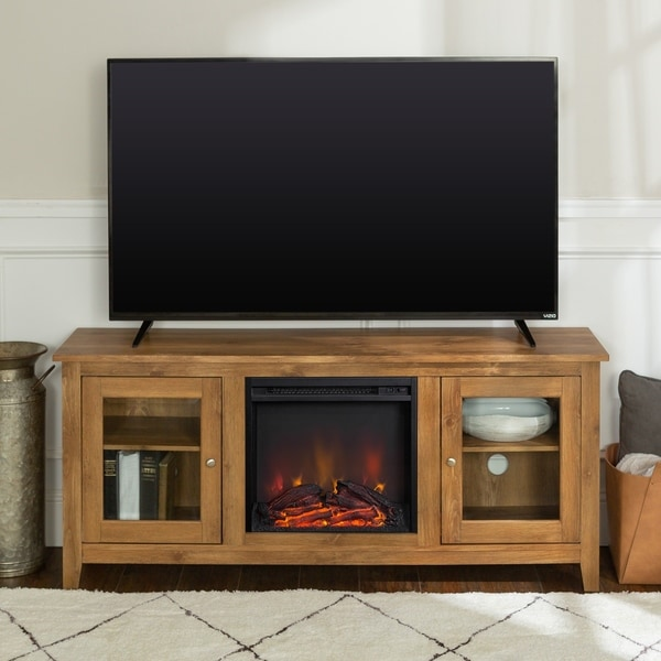"58"" Fireplace TV Stand Console - Barnwood"