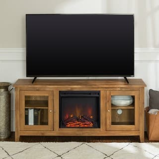 "58"" Wood Media TV Stand Console with Fireplace - Barnwood
