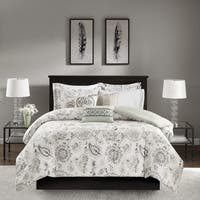 Madison Park Sharon Blue 8 Pieces Cotton Sateen Printed Duvet Cover Set - Comforter Insert Not Included