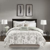 Madison Park Sharon Blue 9 Pieces Cotton Sateen Printed Comforter Set