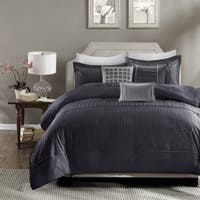 Madison Park Channing Navy 6 Pieces Pleated Duvet Cover Set - Comforter Insert Not Included