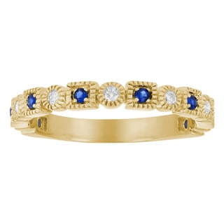 10k Yellow Gold 1/4 carat Vintage Inspired Blue Sapphire and Diamond Band Ring By - White H-I