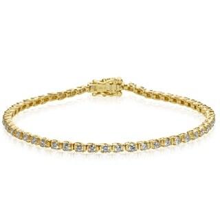 10K Yellow Gold Classic 2 Carat Diamond Tennis Bracelet (J-K, I1-I2) - White J-K