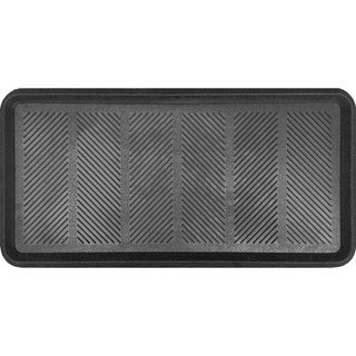 Imports Décor Rubber Boot Tray Decorative Door Mat, Black