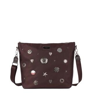 Nicole Lee Brown Nylon Metallic Design Studs Leather Trimming Crossbody Bag