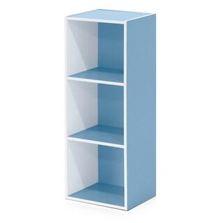 Furinno Pasir 3-Tier Open Shelf Bookcase (Option: Blue - Blue Finish)