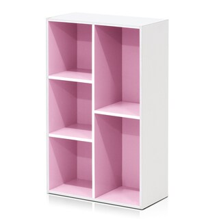 Furinno 5-Cube Reversible Open Shelf, White/Green 11069WH/GR (Option: Pink - Pink Finish)