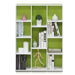Furinno 11-Cube Reversible Open Shelf Bookcase, White/Green 11107WH/GR