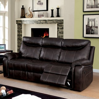 Furniture of America Leona Transitional Breathable Leatherette Brown Reclining Sofa
