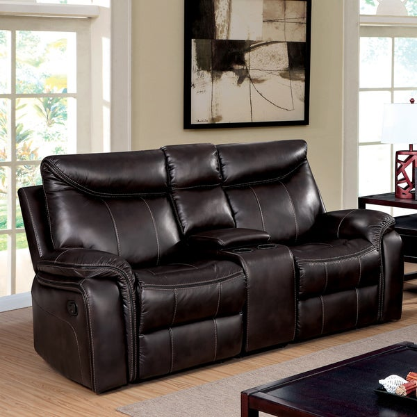 Leona Transitional Brown Reclining Loveseat with Console by FOA