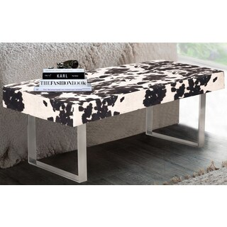 Chic Home Scott Faux Cow Fur Tufted Seating Square Leg Bench, Black & White