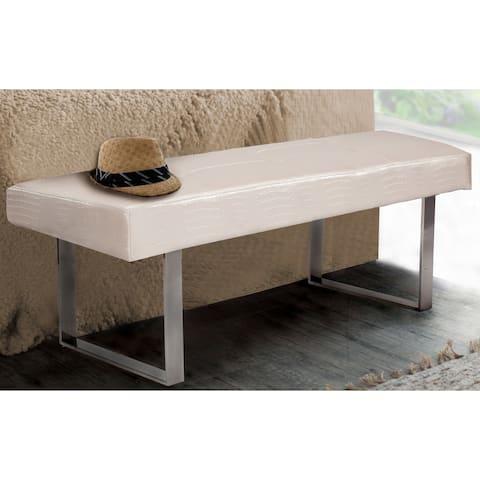 Chic Home Scott PU LeatherTufted Seating Square Leg Bench, Cream Croc