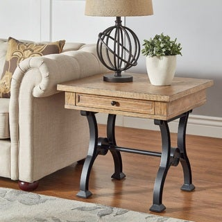 Lloyd Wood And Metal Trestle Base End Table By INSPIRE Q Artisan