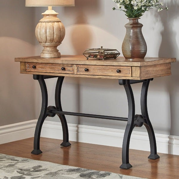 Lloyd Wood And Metal Trestle Base Sofa Entryway Table By INSPIRE Q Artisan