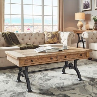 Lloyd Wood and Metal Trestle Base Accent Tables by iNSPIRE Q Artisan