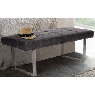 Chic Home Scott PU LeatherTufted Seating Square Leg Bench, Black Croc