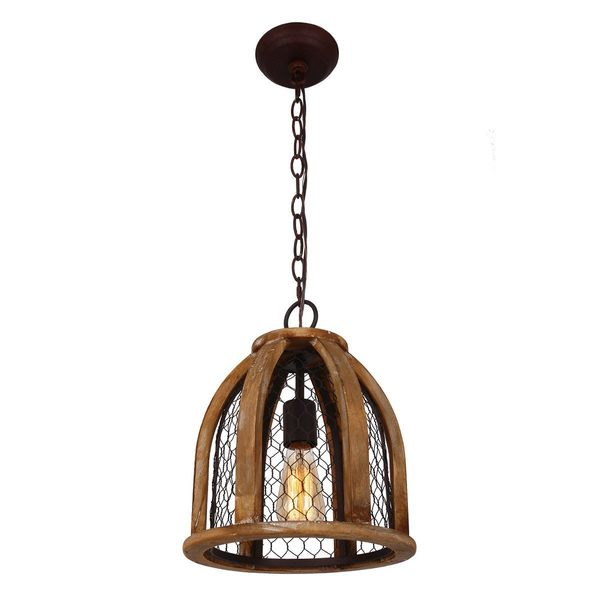 Chicken Wire Farmhouse Pendant Light, Antique Brown - Ships To ...