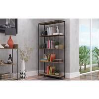 Manhattan Comfort Ellis Dark Oak/ Black 4-shelf Bookcase