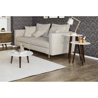 Manhattan Comfort Carmine Mid Century-Modern End Tables-Set of 3 with Solid Wood Splayed Legs