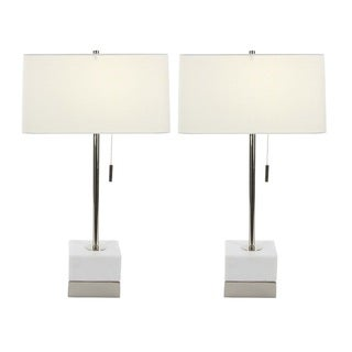Urban Designs Solid White Marble Silver Table Lamp (Set of 2)
