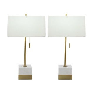 Urban Designs Solid White Marble Gold Table Lamp (Set of 2)
