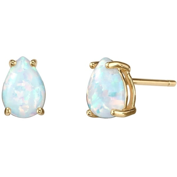 14k Oravo Yellow Gold Pear Shape Created Opal Stud Earrings White