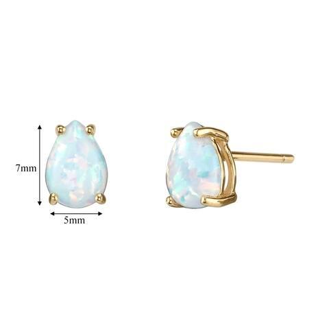 14K Oravo Yellow Gold Pear Shape Created Opal Stud Earrings
