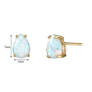 14K Oravo Yellow Gold Pear Shape Created Opal Stud Earrings - White