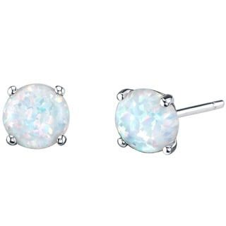 14K Oravo White Gold Round Cut Created Opal Stud Earrings