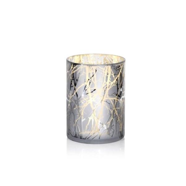 """9.5"""" Long Etched LED Hurricane Candle Holder, Branch Design, Sivler"""