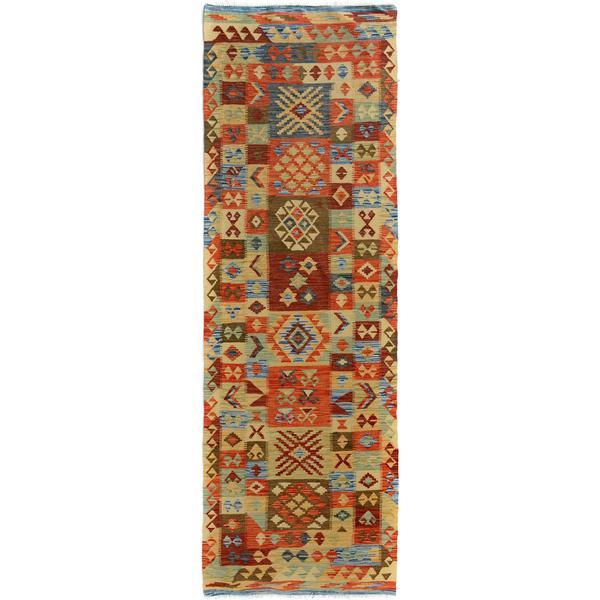 Arshs Fine Rugs Hand-Woven Kilim Arya Leonardo Blue/Gold Wool Rug (3'0 x 9'10)