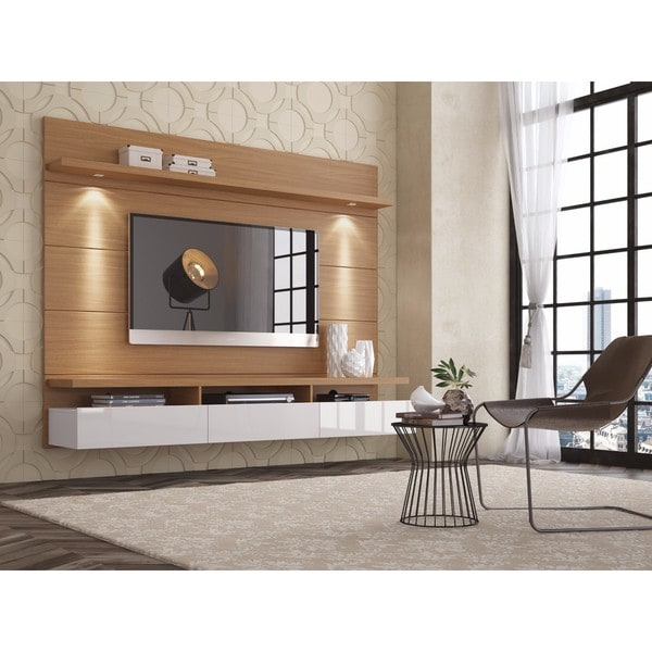 50 Images Of Modern Floating Wall Theater Entertainment: Shop Manhattan Comfort Cabrini Maple Cream / Off-white 1.8