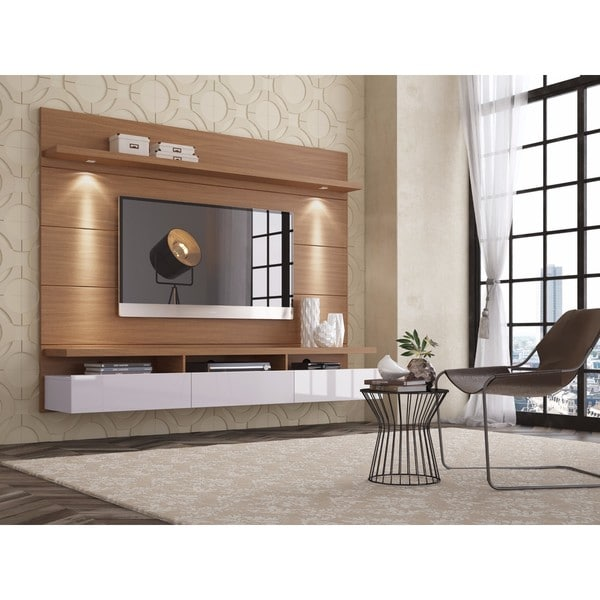Manhattan Comfort Cabrini Cream/Off-white 2.2 Floating Wall Theater Entertainment Center