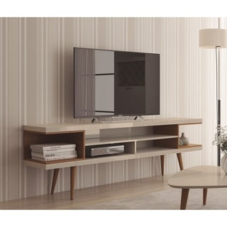 "Manhattan Comfort Utopia 70.47"" TV Stand with Splayed Wooden Legs and 4 Shelves"