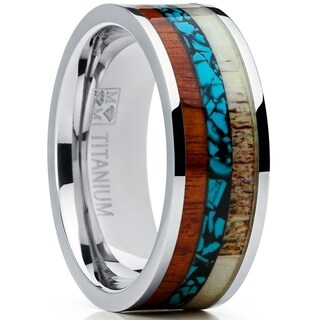 Oliveti Men's Titanium Ring with Real Deer Antler, Koa Wood and Turquoise Inlay, Outdoor Hunting Band
